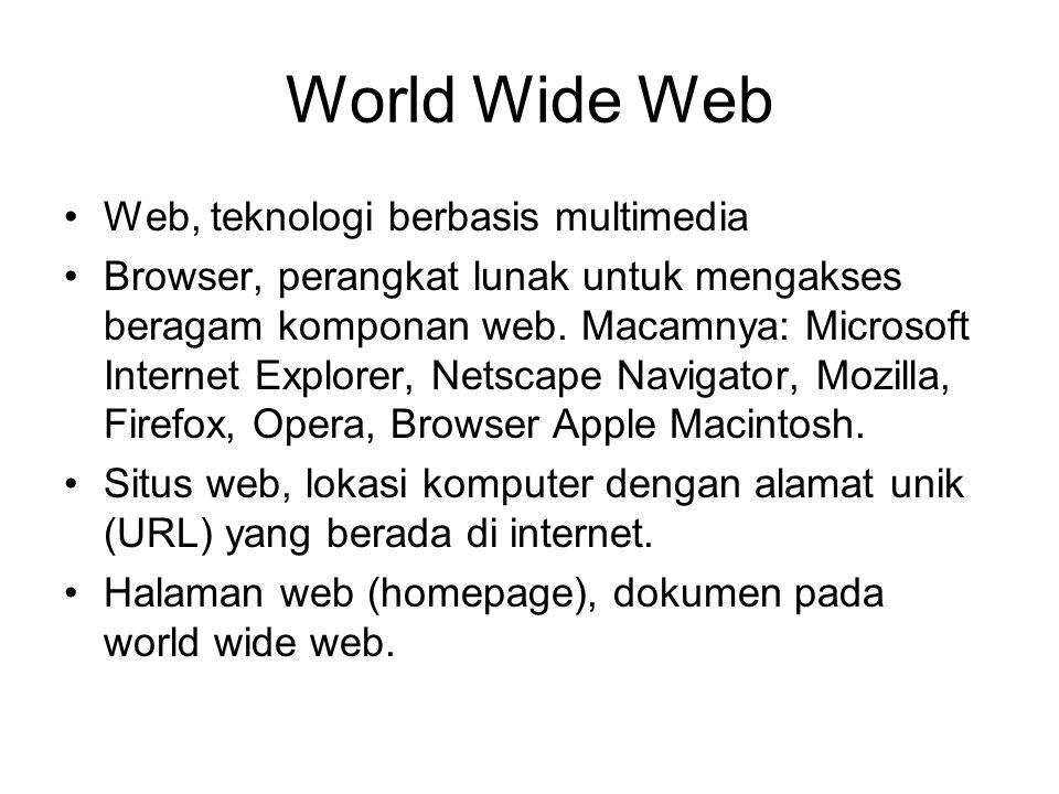 World Wide Web Web, teknologi berbasis multimedia Browser, perangkat lunak untuk mengakses beragam komponan web.