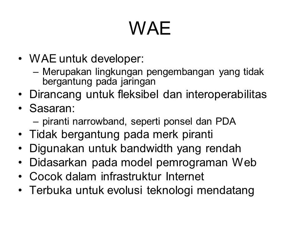 WAE WAE untuk developer: –Merupakan lingkungan pengembangan yang tidak bergantung pada jaringan Dirancang untuk fleksibel dan interoperabilitas Sasara