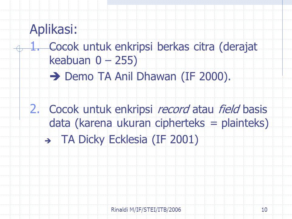 Rinaldi M/IF/STEI/ITB/200610 Aplikasi: 1. Cocok untuk enkripsi berkas citra (derajat keabuan 0 – 255)  Demo TA Anil Dhawan (IF 2000). 2. Cocok untuk