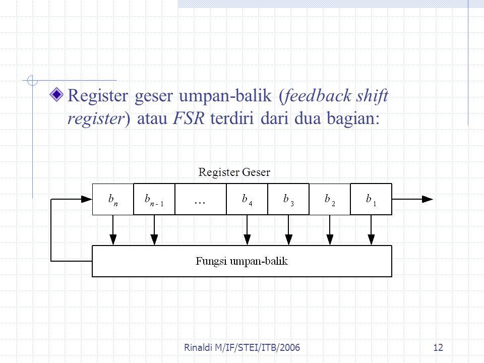 Rinaldi M/IF/STEI/ITB/200612 Register geser umpan-balik (feedback shift register) atau FSR terdiri dari dua bagian: Register Geser
