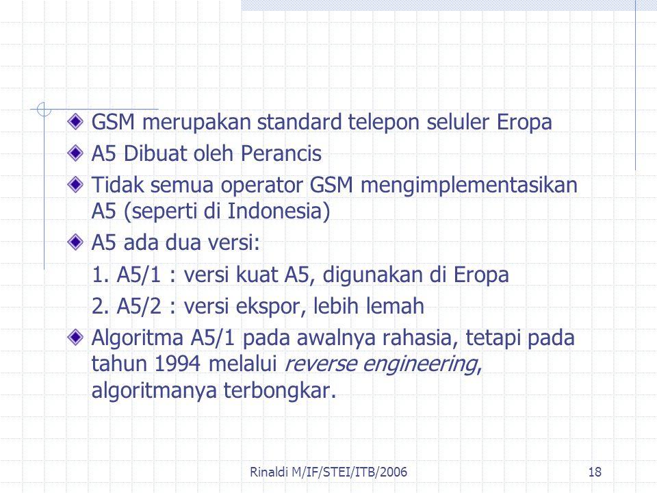 Rinaldi M/IF/STEI/ITB/200618 GSM merupakan standard telepon seluler Eropa A5 Dibuat oleh Perancis Tidak semua operator GSM mengimplementasikan A5 (sep