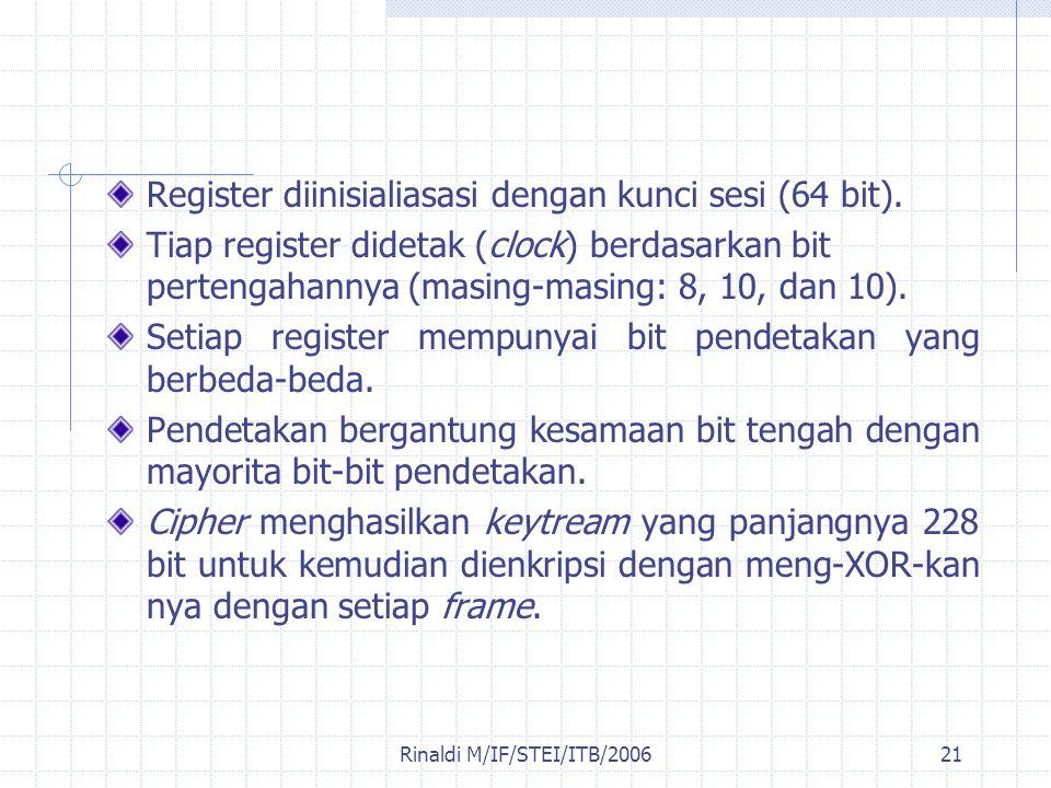 Rinaldi M/IF/STEI/ITB/200621 Register diinisialiasasi dengan kunci sesi (64 bit). Tiap register didetak (clock) berdasarkan bit pertengahannya (masing