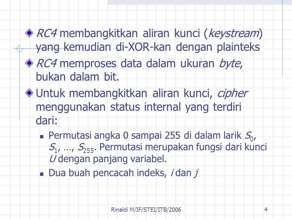 Rinaldi M/IF/STEI/ITB/20064 RC4 membangkitkan aliran kunci (keystream) yang kemudian di-XOR-kan dengan plainteks RC4 memproses data dalam ukuran byte,