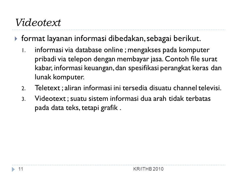 Videotext  format layanan informasi dibedakan, sebagai berikut. 1. informasi via database online ; mengakses pada komputer pribadi via telepon dengan