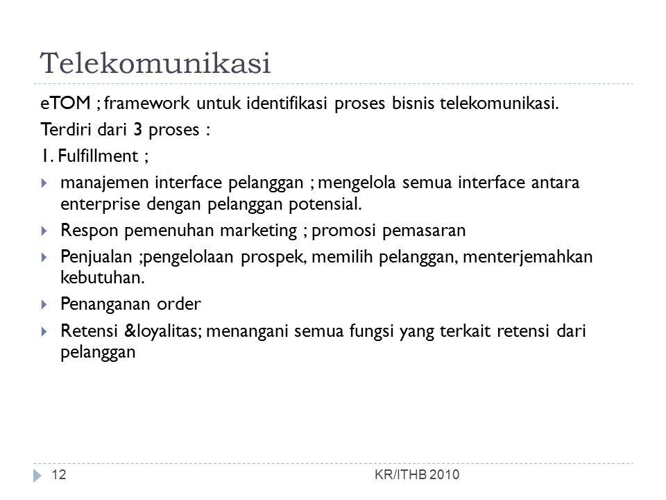 Telekomunikasi KR/ITHB 2010 eTOM ; framework untuk identifikasi proses bisnis telekomunikasi. Terdiri dari 3 proses : 1. Fulfillment ;  manajemen int