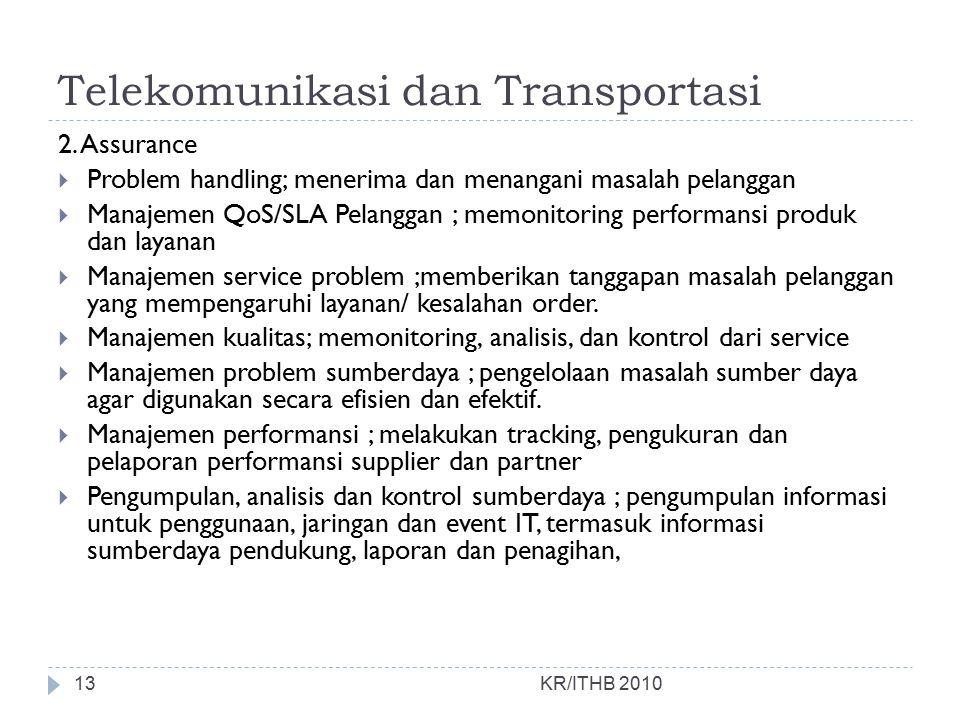 Telekomunikasi dan Transportasi KR/ITHB 2010 2. Assurance  Problem handling; menerima dan menangani masalah pelanggan  Manajemen QoS/SLA Pelanggan ;