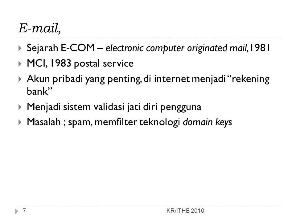 """E-mail,  Sejarah E-COM – electronic computer originated mail,1981  MCI, 1983 postal service  Akun pribadi yang penting, di internet menjadi """"rekeni"""