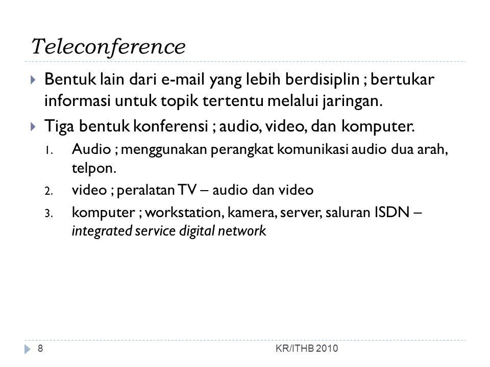 Teleconference  Bentuk lain dari e-mail yang lebih berdisiplin ; bertukar informasi untuk topik tertentu melalui jaringan.  Tiga bentuk konferensi ;