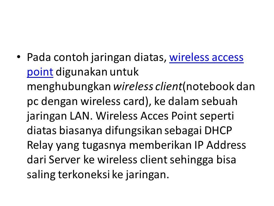 Pada contoh jaringan diatas, wireless access point digunakan untuk menghubungkan wireless client(notebook dan pc dengan wireless card), ke dalam sebua