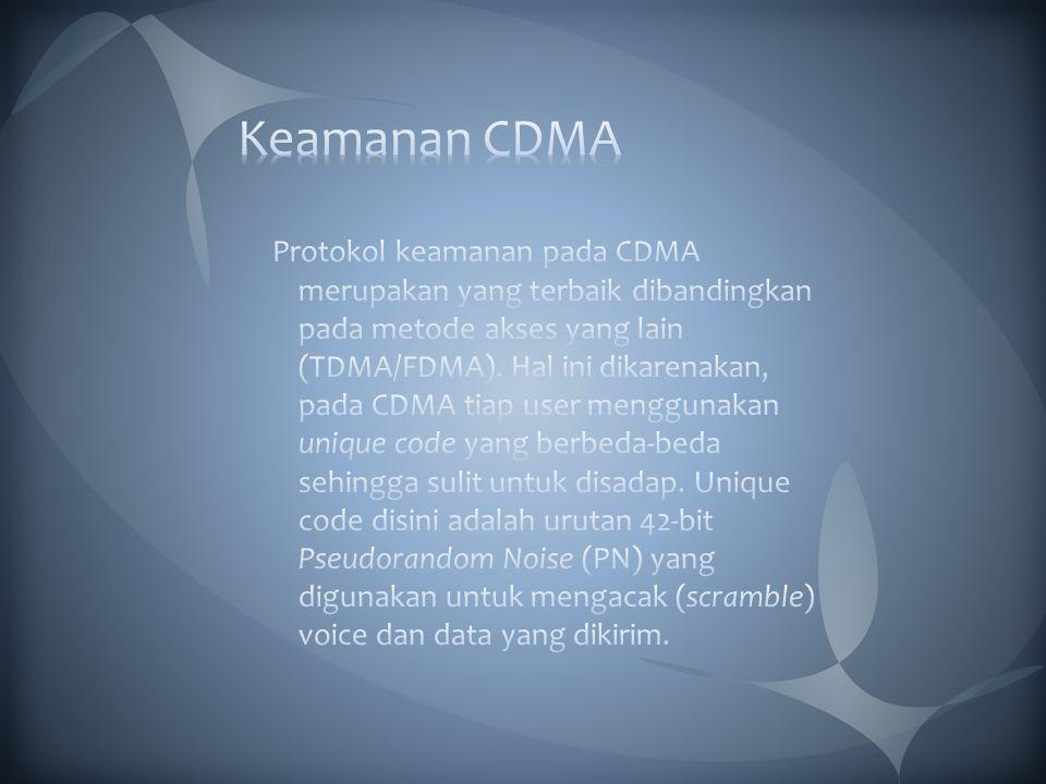 Sebagai contoh gambaran, arsitektur keamanan CDMA2000 1xEV-DO dapat dilihat pada Gambar dibawah ini.
