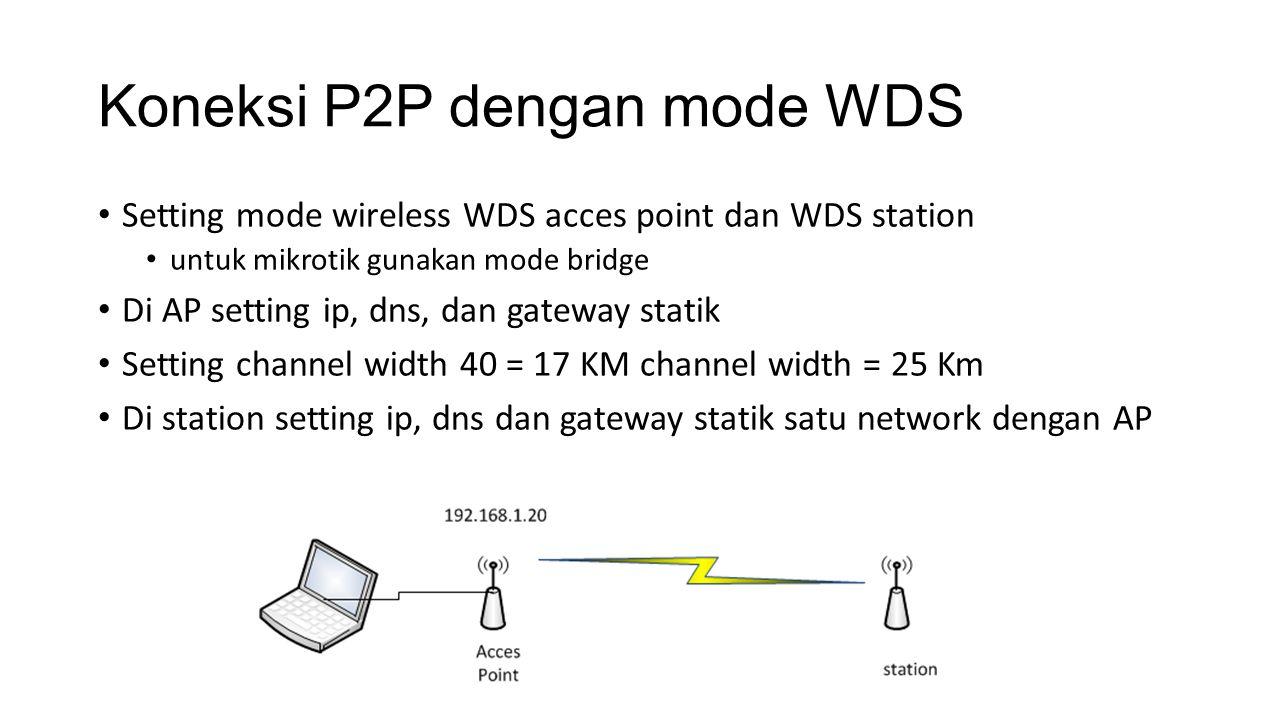 Koneksi P2P dengan mode WDS Setting mode wireless WDS acces point dan WDS station untuk mikrotik gunakan mode bridge Di AP setting ip, dns, dan gatewa