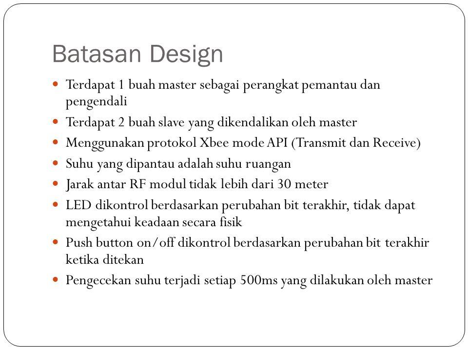 Batasan Design Terdapat 1 buah master sebagai perangkat pemantau dan pengendali Terdapat 2 buah slave yang dikendalikan oleh master Menggunakan protok