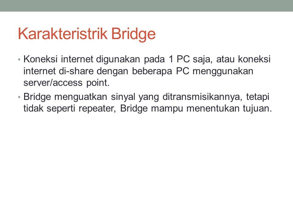 Karakteristrik Bridge Koneksi internet digunakan pada 1 PC saja, atau koneksi internet di-share dengan beberapa PC menggunakan server/access point. Br