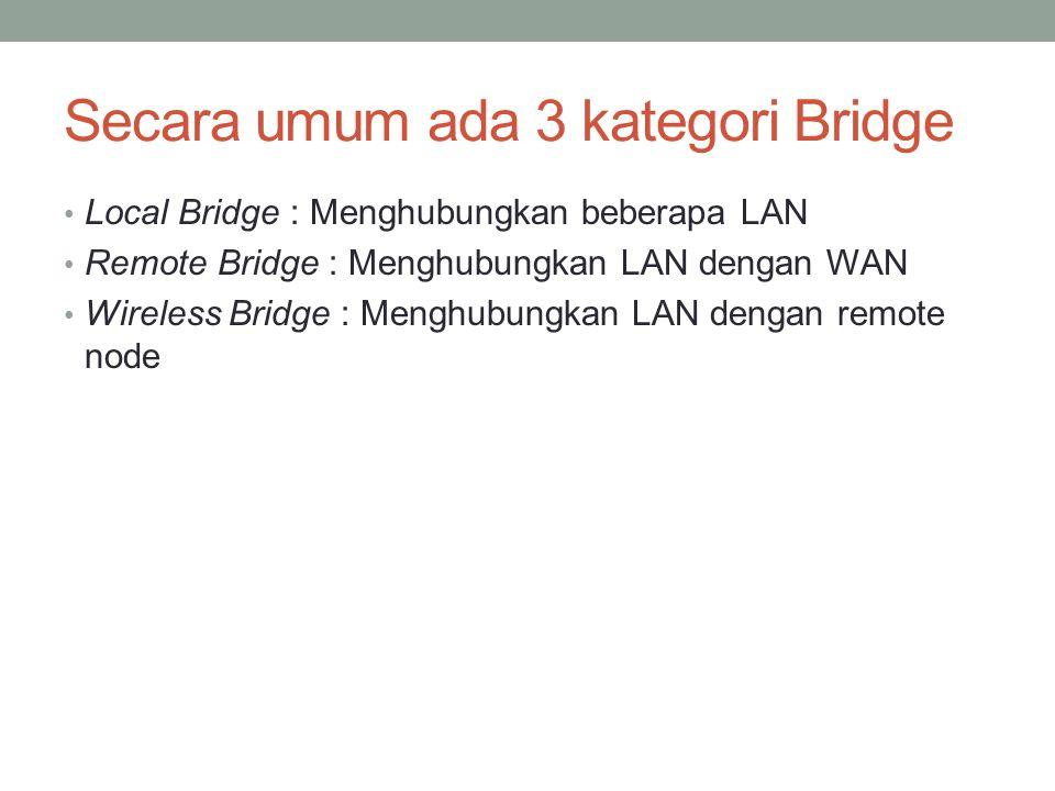 Secara umum ada 3 kategori Bridge Local Bridge : Menghubungkan beberapa LAN Remote Bridge : Menghubungkan LAN dengan WAN Wireless Bridge : Menghubungk