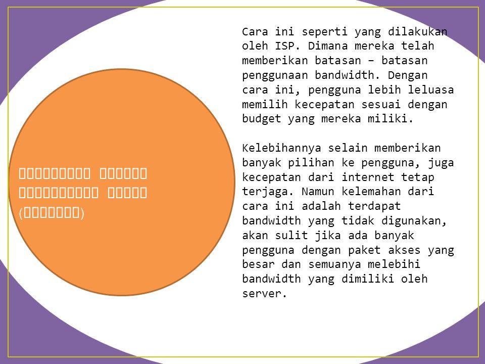 Pembagian dengan Memberikan Paket ( Limiter ) Cara ini seperti yang dilakukan oleh ISP. Dimana mereka telah memberikan batasan – batasan penggunaan ba
