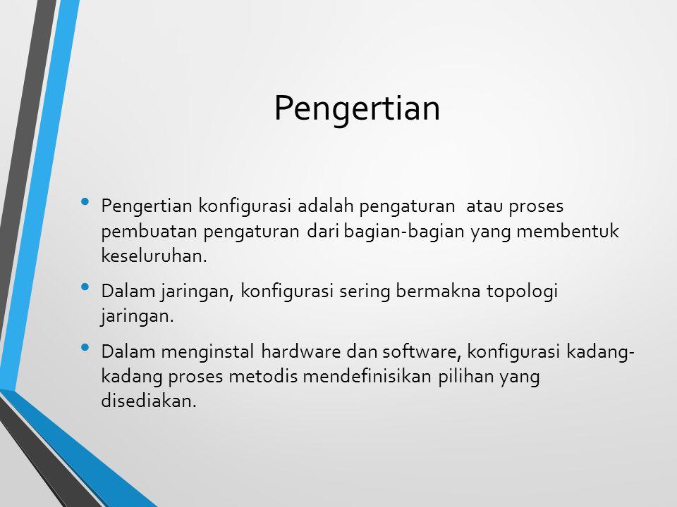 Konfigurasi WPA Server Komputer server yang dituju oleh akses point yang akan memberi otontikasi kepada client.