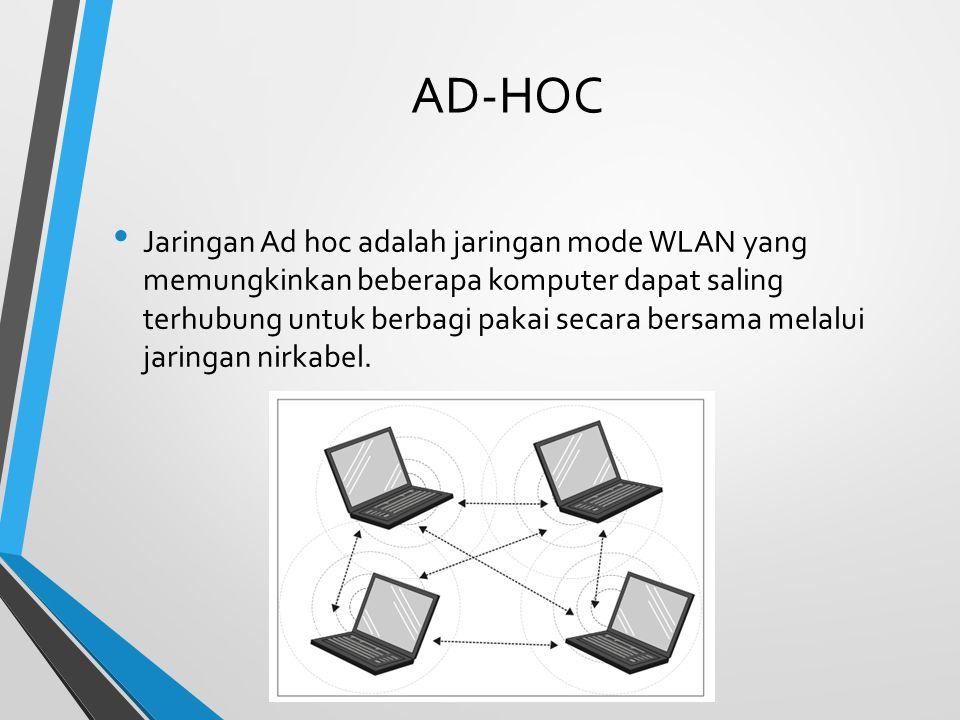 AD-HOC Jaringan Ad hoc adalah jaringan mode WLAN yang memungkinkan beberapa komputer dapat saling terhubung untuk berbagi pakai secara bersama melalui jaringan nirkabel.