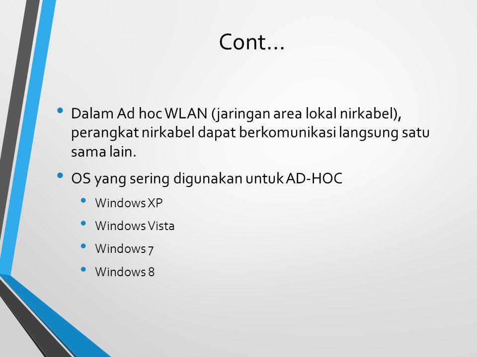 Cont... Dalam Ad hoc WLAN (jaringan area lokal nirkabel), perangkat nirkabel dapat berkomunikasi langsung satu sama lain. OS yang sering digunakan unt