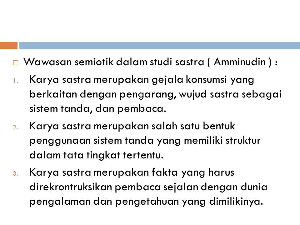  Wawasan semiotik dalam studi sastra ( Amminudin ) : 1.