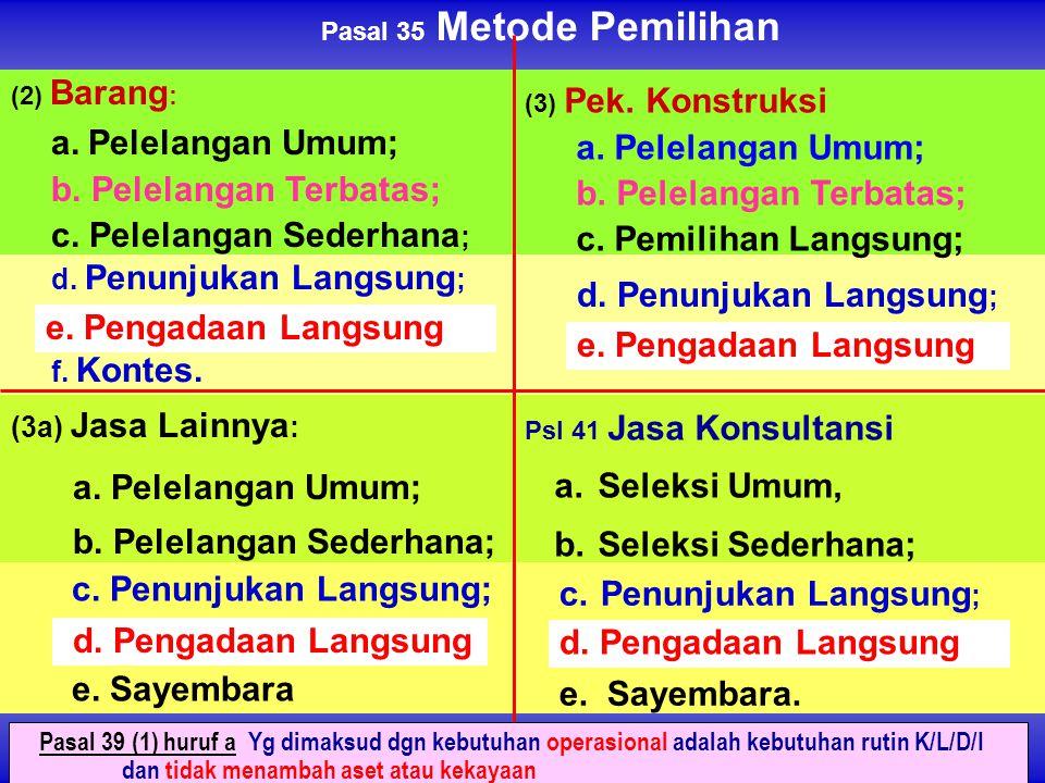 (2) Barang : a. Pelelangan Umum; b. Pelelangan Terbatas; c. Pelelangan Sederhana ; (3a) Jasa Lainnya : a. Pelelangan Umum; b. Pelelangan Sederhana; Ps
