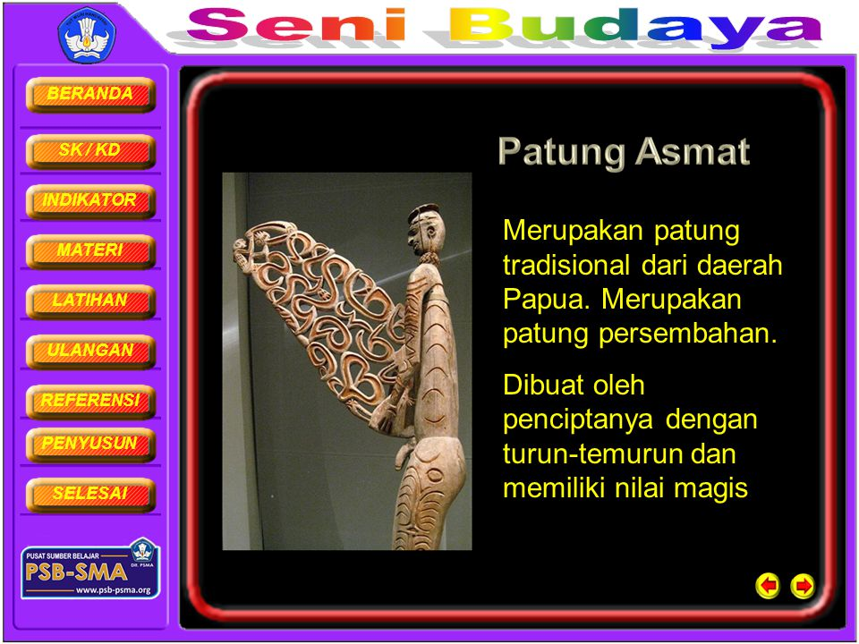 BERANDA SK / KD INDIKATOR MATERI LATIHAN ULANGAN REFERENSI PENYUSUN SELESAI Merupakan patung tradisional dari daerah Papua. Merupakan patung persembah