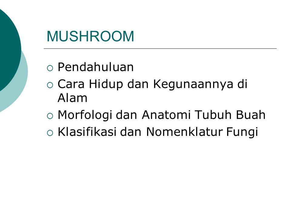 MUSHROOM  Pendahuluan  Cara Hidup dan Kegunaannya di Alam  Morfologi dan Anatomi Tubuh Buah  Klasifikasi dan Nomenklatur Fungi