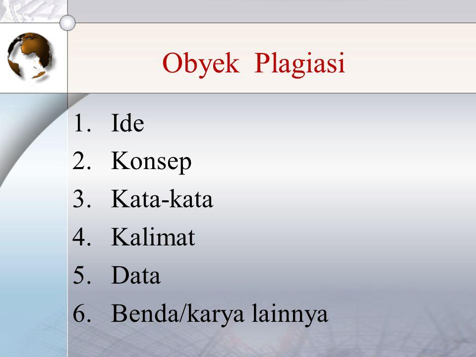 Obyek Plagiasi 1.Ide 2.Konsep 3.Kata-kata 4.Kalimat 5.Data 6.Benda/karya lainnya