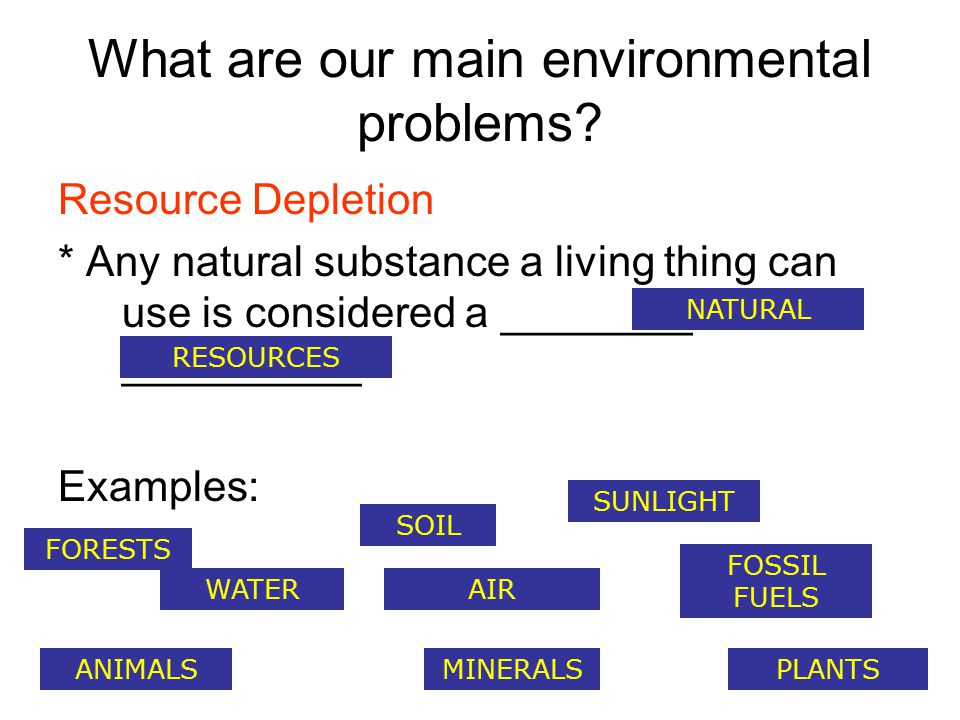 What are our main environmental problems.