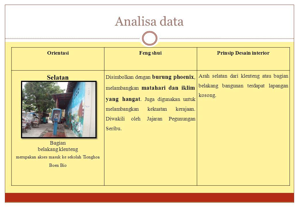Analisa data OrientasiFeng shuiPrinsip Desain interior Selatan Bagian belakang klenteng merupakan akses masuk ke sekolah Tionghoa Boen Bio Disimbolkan