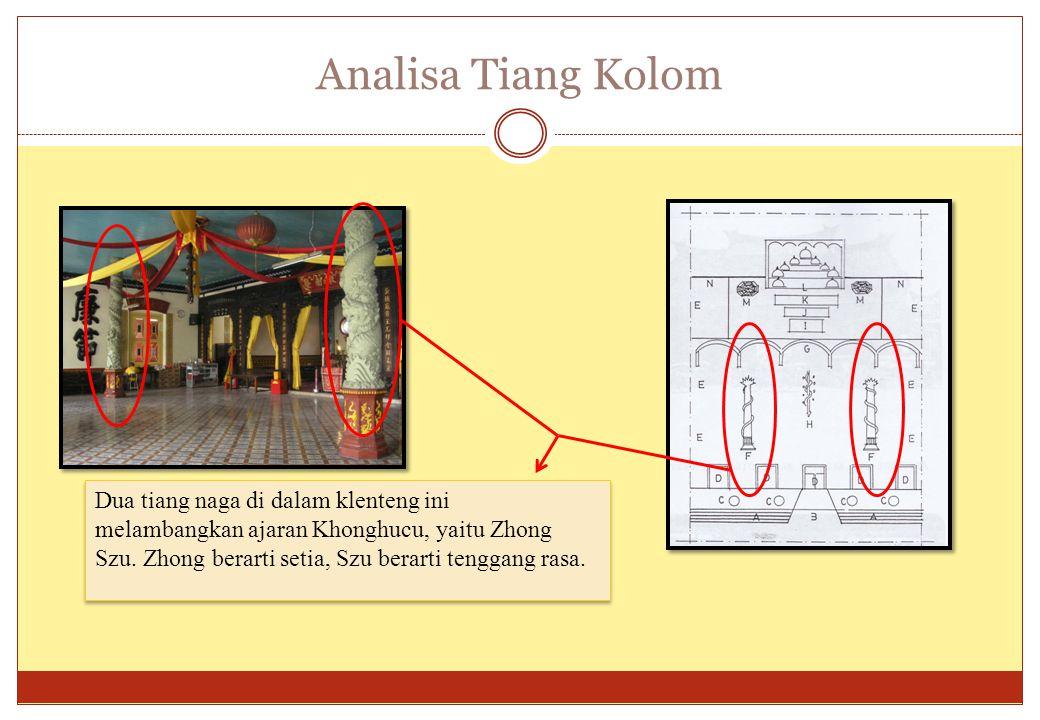 Analisa Tiang Kolom Dua tiang naga di dalam klenteng ini melambangkan ajaran Khonghucu, yaitu Zhong Szu. Zhong berarti setia, Szu berarti tenggang ras