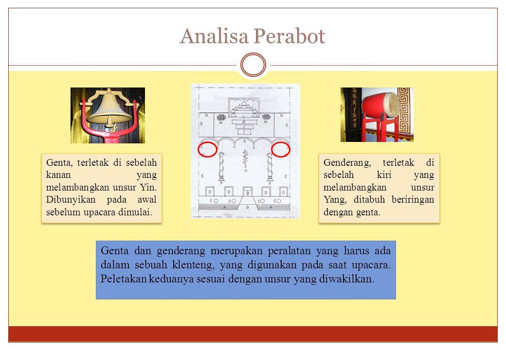 Analisa Perabot Genta, terletak di sebelah kanan yang melambangkan unsur Yin. Dibunyikan pada awal sebelum upacara dimulai. Genderang, terletak di seb