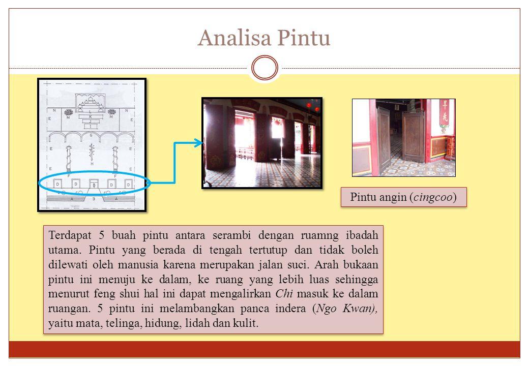 Analisa Pintu Terdapat 5 buah pintu antara serambi dengan ruamng ibadah utama. Pintu yang berada di tengah tertutup dan tidak boleh dilewati oleh manu