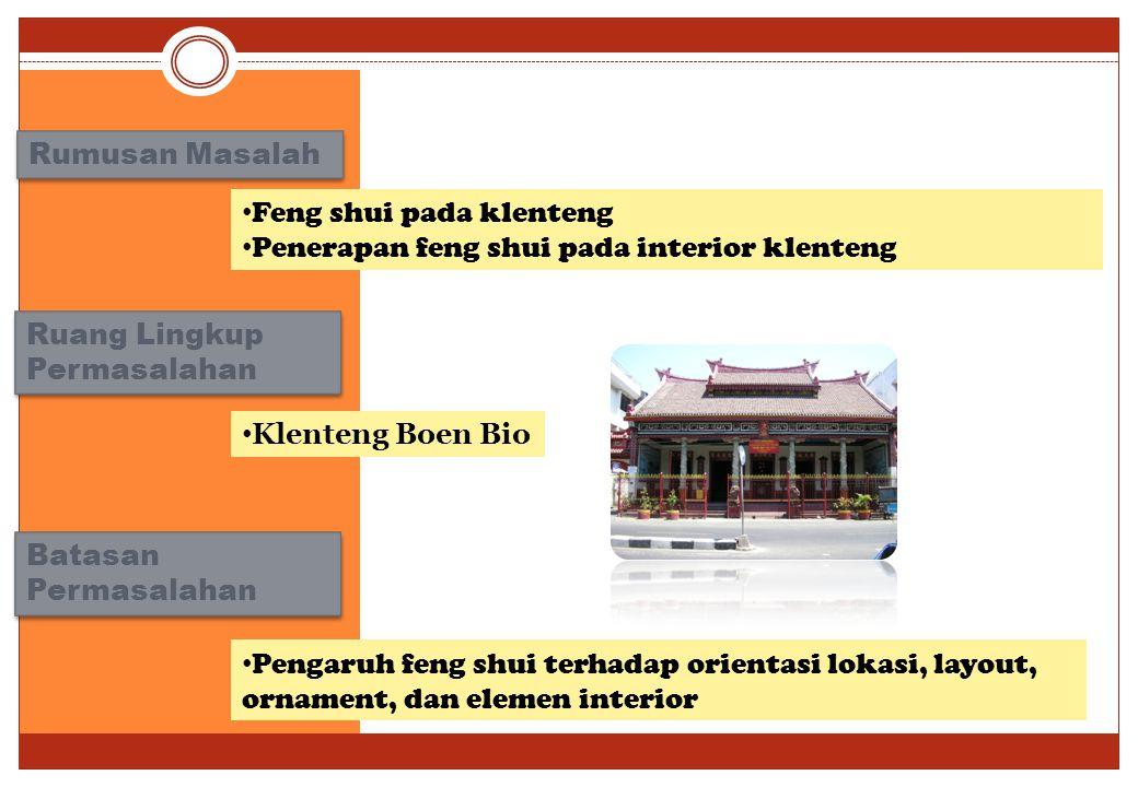 Rumusan Masalah Feng shui pada klenteng Penerapan feng shui pada interior klenteng Ruang Lingkup Permasalahan Klenteng Boen Bio Batasan Permasalahan Pengaruh feng shui terhadap orientasi lokasi, layout, ornament, dan elemen interior