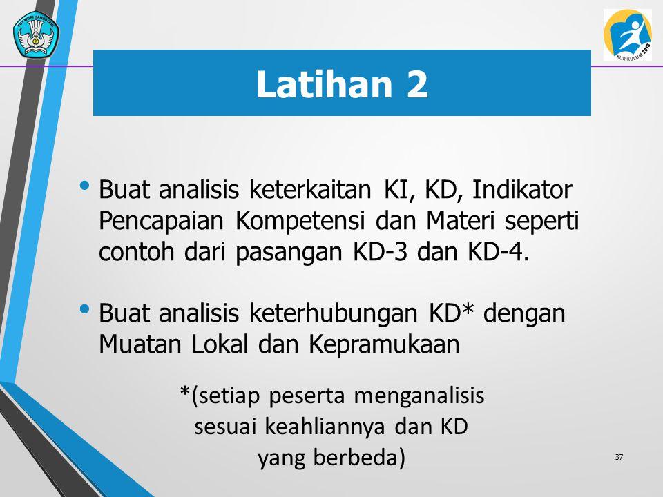 Latihan 2 Buat analisis keterkaitan KI, KD, Indikator Pencapaian Kompetensi dan Materi seperti contoh dari pasangan KD-3 dan KD-4. Buat analisis keter