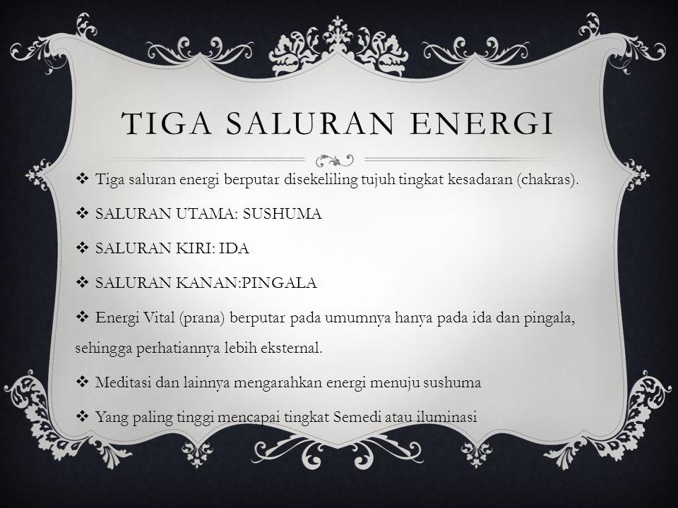TIGA SALURAN ENERGI  Tiga saluran energi berputar disekeliling tujuh tingkat kesadaran (chakras).  SALURAN UTAMA: SUSHUMA  SALURAN KIRI: IDA  SALU