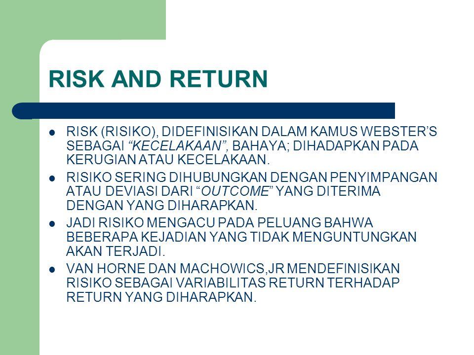 "RISK AND RETURN RISK (RISIKO), DIDEFINISIKAN DALAM KAMUS WEBSTER'S SEBAGAI ""KECELAKAAN"", BAHAYA; DIHADAPKAN PADA KERUGIAN ATAU KECELAKAAN. RISIKO SERI"