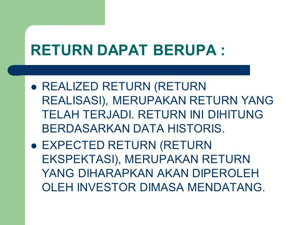 RETURN DAPAT BERUPA : REALIZED RETURN (RETURN REALISASI), MERUPAKAN RETURN YANG TELAH TERJADI. RETURN INI DIHITUNG BERDASARKAN DATA HISTORIS. EXPECTED