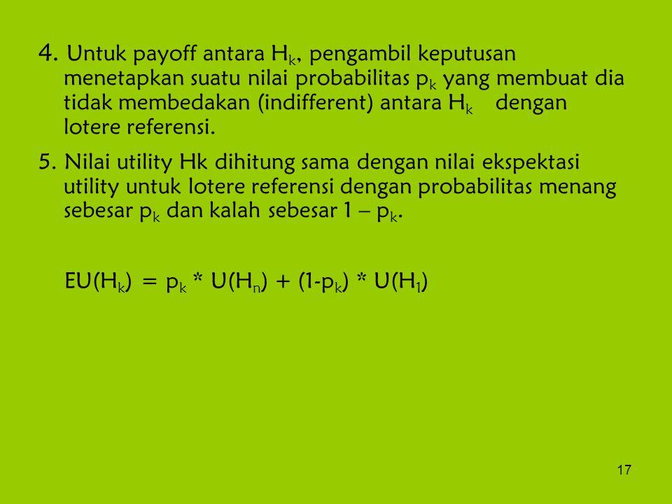 17 4. Untuk payoff antara H k, pengambil keputusan menetapkan suatu nilai probabilitas p k yang membuat dia tidak membedakan (indifferent) antara H k