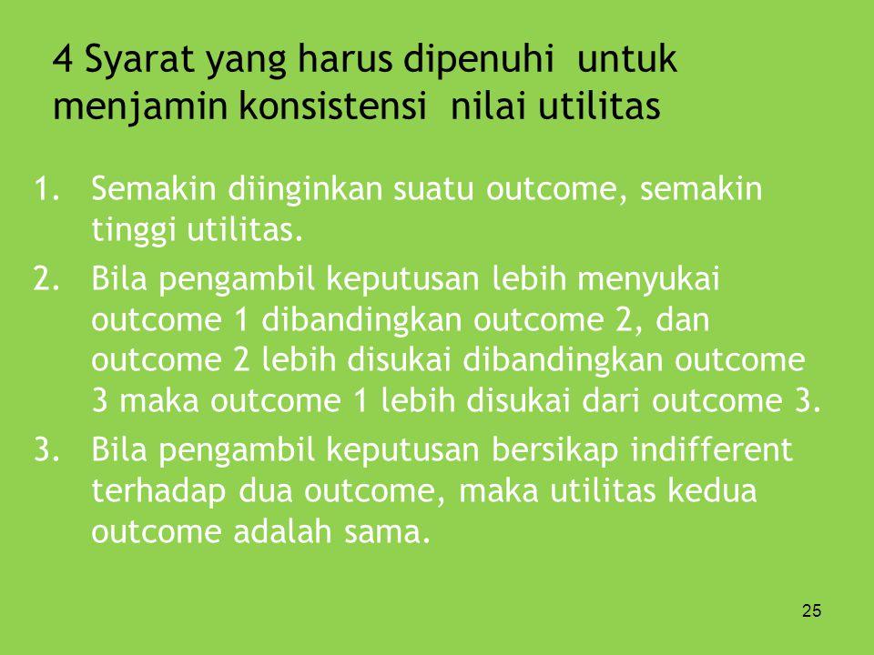 25 4 Syarat yang harus dipenuhi untuk menjamin konsistensi nilai utilitas 1.Semakin diinginkan suatu outcome, semakin tinggi utilitas. 2.Bila pengambi