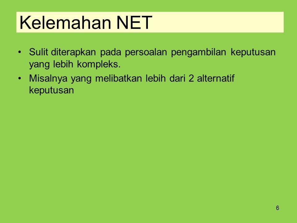Kelemahan NET Sulit diterapkan pada persoalan pengambilan keputusan yang lebih kompleks. Misalnya yang melibatkan lebih dari 2 alternatif keputusan 6