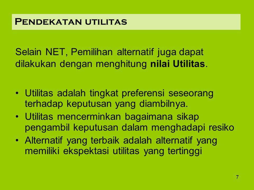 7 Pendekatan utilitas Selain NET, Pemilihan alternatif juga dapat dilakukan dengan menghitung nilai Utilitas. Utilitas adalah tingkat preferensi seseo