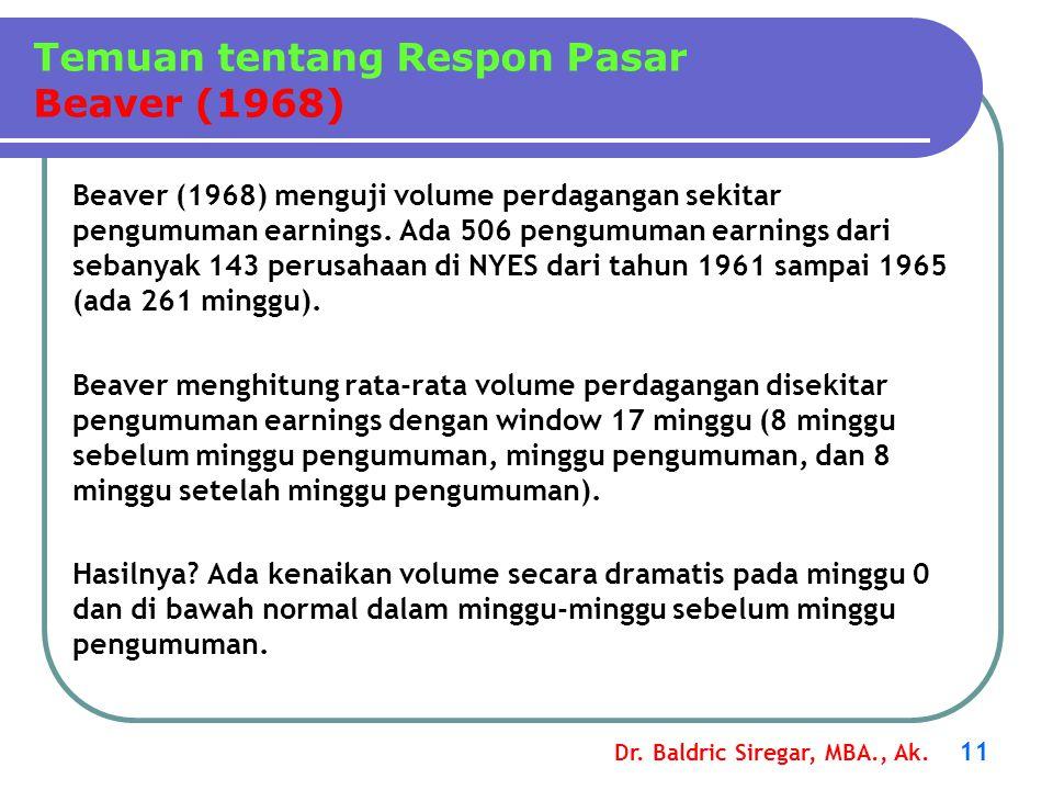 Dr. Baldric Siregar, MBA., Ak. 11 Beaver (1968) menguji volume perdagangan sekitar pengumuman earnings. Ada 506 pengumuman earnings dari sebanyak 143