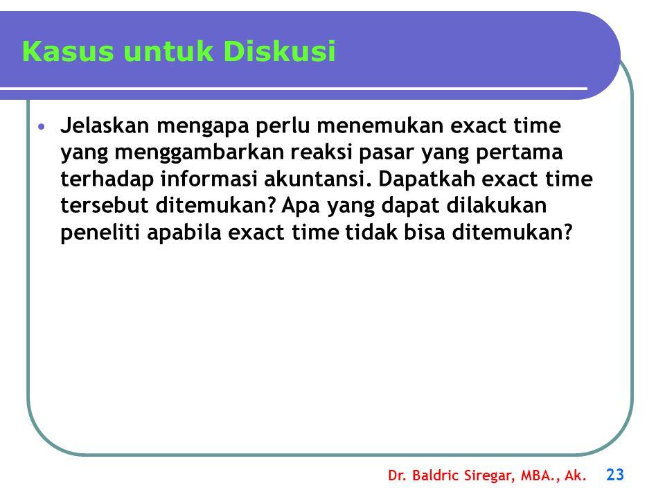 Dr. Baldric Siregar, MBA., Ak. 23 Jelaskan mengapa perlu menemukan exact time yang menggambarkan reaksi pasar yang pertama terhadap informasi akuntans
