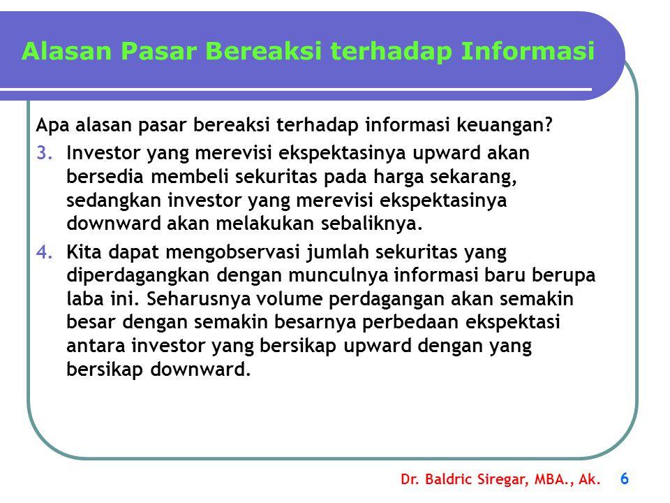 Dr. Baldric Siregar, MBA., Ak. 6 Apa alasan pasar bereaksi terhadap informasi keuangan? 3.Investor yang merevisi ekspektasinya upward akan bersedia me