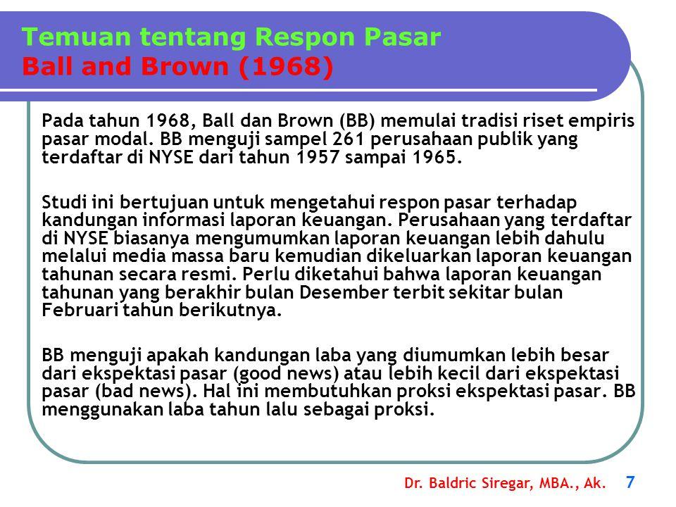 Dr. Baldric Siregar, MBA., Ak. 7 Pada tahun 1968, Ball dan Brown (BB) memulai tradisi riset empiris pasar modal. BB menguji sampel 261 perusahaan publ