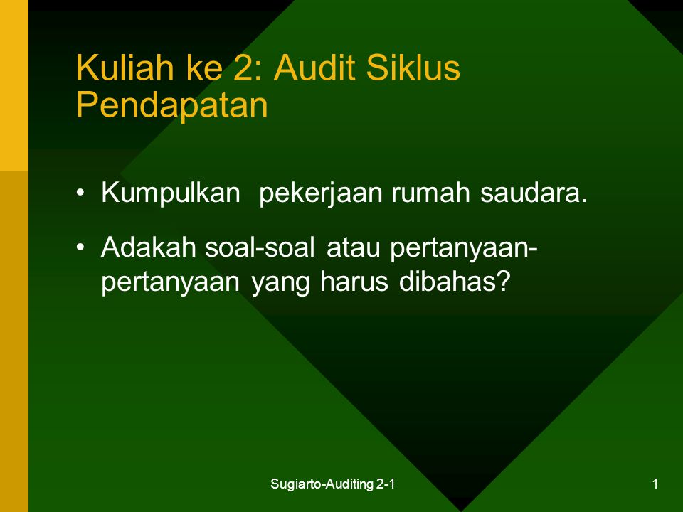 Sugiarto-Auditing 2-1 32 Aktivitas Pengendalian: Penjualan Kredit Cara penjualan 1.