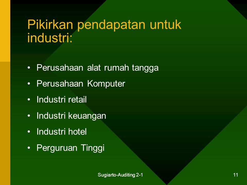 Sugiarto-Auditing 2-1 11 Pikirkan pendapatan untuk industri: Perusahaan alat rumah tangga Perusahaan Komputer Industri retail Industri keuangan Indust