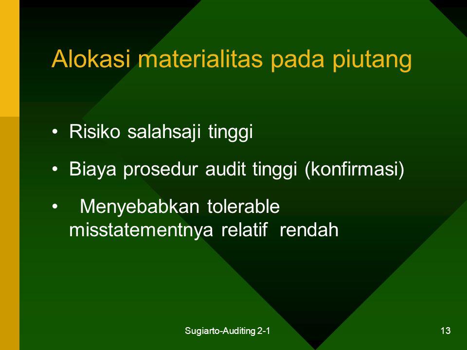 Sugiarto-Auditing 2-1 13 Alokasi materialitas pada piutang Risiko salahsaji tinggi Biaya prosedur audit tinggi (konfirmasi) Menyebabkan tolerable miss