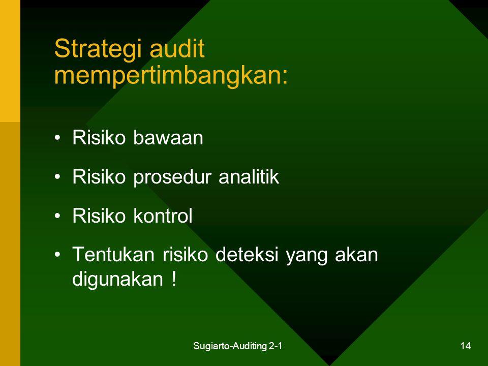Sugiarto-Auditing 2-1 14 Strategi audit mempertimbangkan: Risiko bawaan Risiko prosedur analitik Risiko kontrol Tentukan risiko deteksi yang akan digu