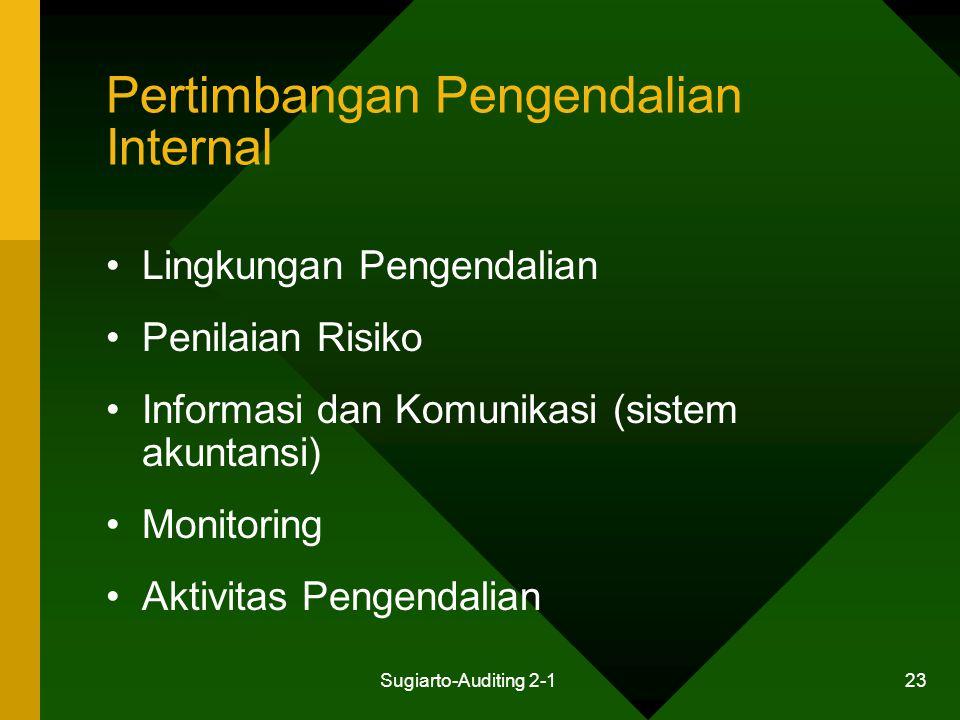 Sugiarto-Auditing 2-1 23 Pertimbangan Pengendalian Internal Lingkungan Pengendalian Penilaian Risiko Informasi dan Komunikasi (sistem akuntansi) Monit